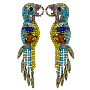 "Multicolor rhinestone encased parrot tassel stud earrings. Approximately 3"" in length."