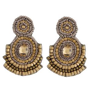 "Seed beaded rhinestone felt earrings. Approximately 2.5"" in length."