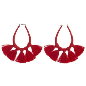 """Thread wrapped teardrop fan tassel pin catch hoop earrings. Approximately 3"""" in length."""