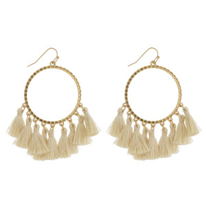 """Gold textured open circle tassel dangle earrings.   - Approximately 2.5"""" in length"""