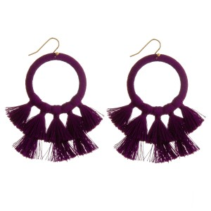 """Thread wrapped open circle tassel earrings.   - Approximately 2.5"""" in length"""