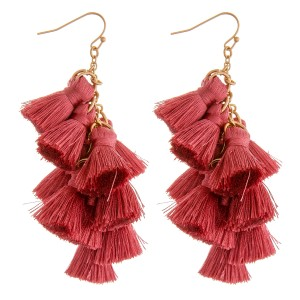 "Chain linked fan tassel drop earrings.  - Approximately 3"" in length"