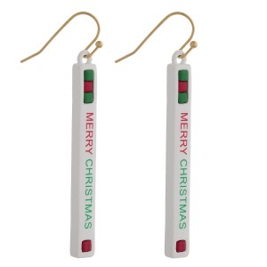 "Merry Christmas bar drop earrings. Approximately 2"" in length."
