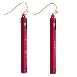"""Jingle Bell"" Christmas bar earrings. Approximately 2"" in length."