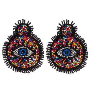 """Seed beaded felt disc evil eye tassel earrings. Approximately 3"""" in length."""