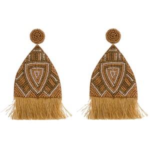 """Oversized seed beaded felt boho tassel earrings. Approximately 4"""" in length."""