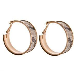 "Faux leather snakeskin metal hoop earrings.   - Approximately 1.5""  in diameter - Approximately .5"" wide"