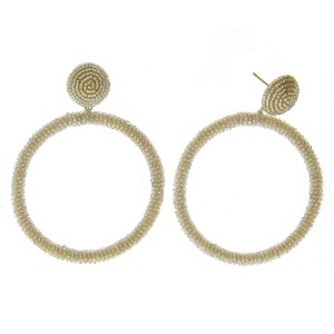 """Seed beaded open circle statement earrings.  - Approximately 2.75"""" in length and 2.25"""" in diameter"""
