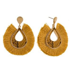 "Fringe tassel snakeskin teardrop earrings.  - Approximately 2.5"" in length"