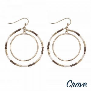 """Seed beaded nested open circle drop earrings.  - Approximately 2"""" in length"""