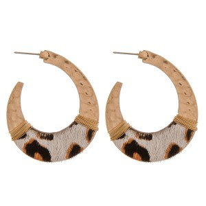 """Cowhide leopard print hammered j-hoop earrings with wire wrapped details.  - Approximately 2"""" in length"""