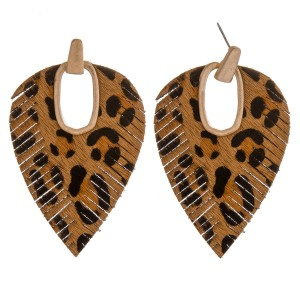 """Faux leather cowhide leopard print hinge cut out earrings.  - Approximately 2.75"""" in length"""
