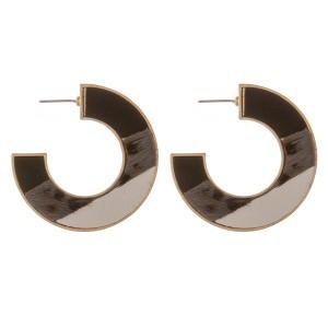 "Multi faux leather leopard print encased hoop earrings.  - Approximately 1.75"" in diameter"
