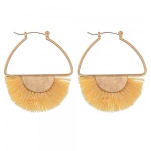"Fringe tassel encased modern pin catch hoop earrings.  - Approximately 2"" in length"