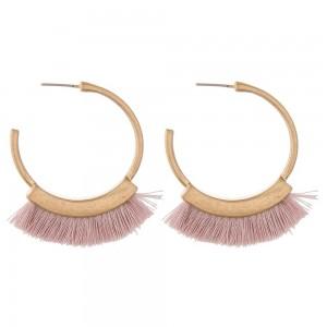 "Fringe tassel open hoop earrings.  - Approximately 1.5"" in diameter"