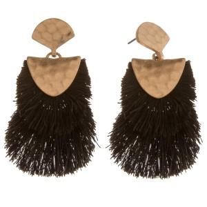 "Doubled hammered hinge fringe tassel earrings.  - Approximately 2.5"" in length"
