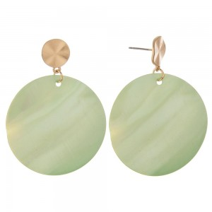 """Genuine shell drop disc earrings.  - Approximately 2"""" in length and 1.5"""" in diameter"""