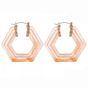 "Raised resin octagon pin catch hoop earrings.  - Approximately 2"" in diameter"