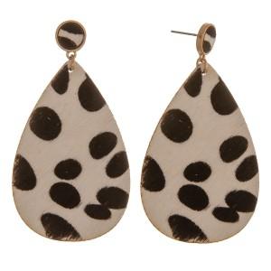"Genuine leather cow print cowhide teardrop earrings.  - Approximately 2.5"" L"