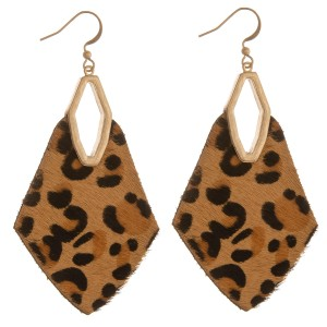 """Genuine leather leopard print cowhide diamond cut out drop earrings.  - Approximately 2.5"""" L"""