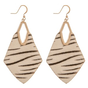 """Cowhide genuine leather zebra print diamond cut out earrings.   - Approximately 3"""" in length"""