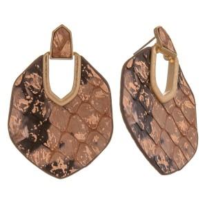 "Metallic genuine leather double sided snakeskin hinge earrings.  - Approximately 2.25"" in length"