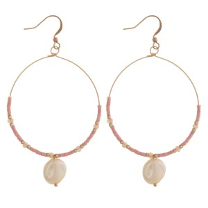 "Seed beaded pearl drop earrings.  - Approximately 2.75"" L"