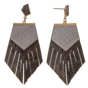 "Metallic genuine leather animal print bohemian earrings.  - Approximately 3"" in length"