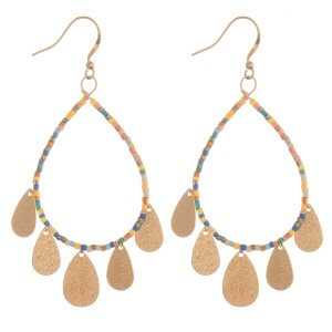 "Seed beaded teardrop dangle earrings.  - Approximately 2.5"" L"
