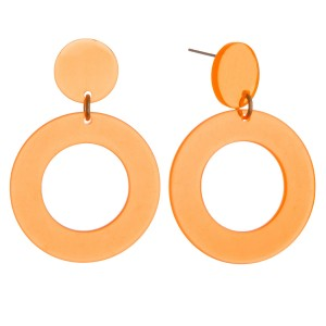 """Transparent retro resin earrings.  - Approximately 2"""" in length and 1.25"""" in diameter"""