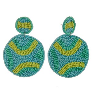 """Seed beaded felt bird feather statement earrings.  - Approximately 4"""" in length"""