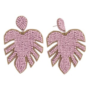 """Seed beaded felt palm leaf statement earrings.  - Approximately 3.5"""" in length"""