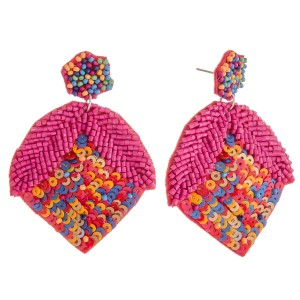"""Multicolor seed beaded sequin strawberry earrings.  - Approximately 2.5"""" in length"""
