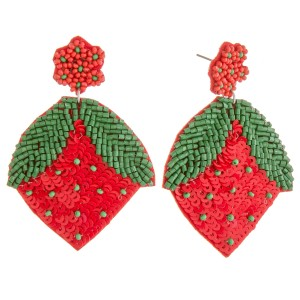 """Seed beaded sequin strawberry earrings.  - Approximately 2.5"""" in length"""