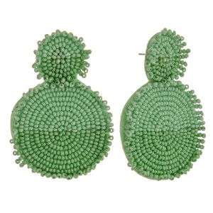 """Two tone seed beaded felt disc earrings.  - Approximately 2.75"""" in length and 1.5"""" in diameter"""
