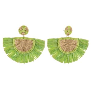 """Seed beaded raffia tassel statement earrings.  - Approximately 2.5"""" in length and 3.5"""" in width"""