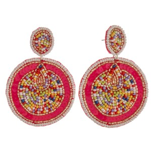 """Multicolor seed beaded felt disc statement earrings.  - Approximately 3.5"""" in length and 2.25"""" in diameter"""