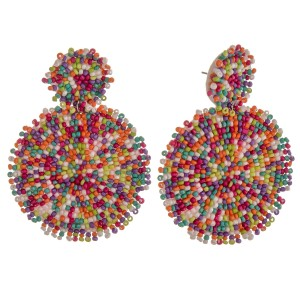 """Seed beaded felt disc earrings.  - Approximately 3"""" in length and 2"""" in diameter"""