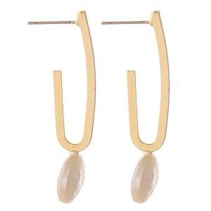 """Faux pearl J hoop earrings.  - Approximately 1.5"""" L"""