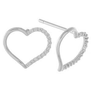 """Dainty open heart stud earrings with cubic zirconia details.  - Cubic Zirconia  - Approximately .5"""" in size"""