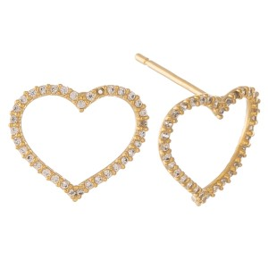 """Gold dipped cubic zirconia open heart stud earrings.  - Cubic Zirconia  - Approximately .5"""" in size"""