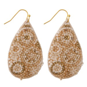 "Geometric seed beaded felt teardrop earrings.  - Approximately 2.25"" L"