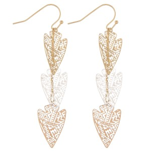 "Filigree arrow dangle earrings.  - Approximately 2.25"" L"