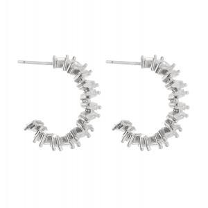 """Cubic Zirconia cut open hoop stud earrings.  - Approximately .75"""" in diameter"""