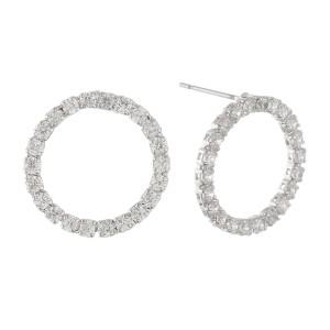 "Cubic Zirconia open circle stud earrings.  - Approximately .75"" in diameter"