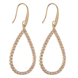"""Cubic Zirconia teardrop earrings.  - Approximately 2.25"""" L"""