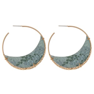 "Faux leather metallic snakeskin statement hoop earrings.  - Approximately 2.5"" in diameter"