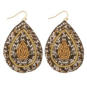 """Multicolor seed beaded felt teardrop earrings.  - Approximately 2.5"""" L"""