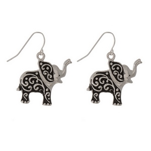 Silver tone fashion earrings with an baby elephant theme. Our wholesale fashion jewelry and fashion earrings are lead and nickel compliant.