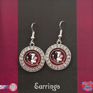 Officially licensed silver toned Florida State earrings with crystal rhinestones surrounding the logo.